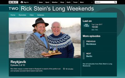 A screen shot from BBC2's Rick Stein's Long Weekend showing Magical Iceland's Ýmir with Rick Stein